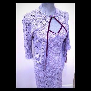 🇬🇧Vintage British Body Con Lace Dress & Bolero
